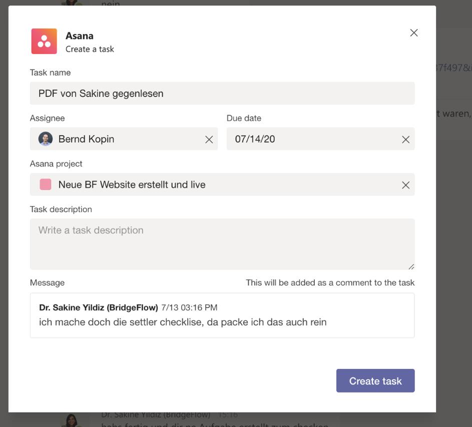 Create a Task with Teams for Asana