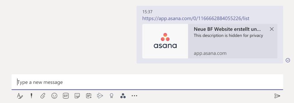 Share Asana Project in Teams