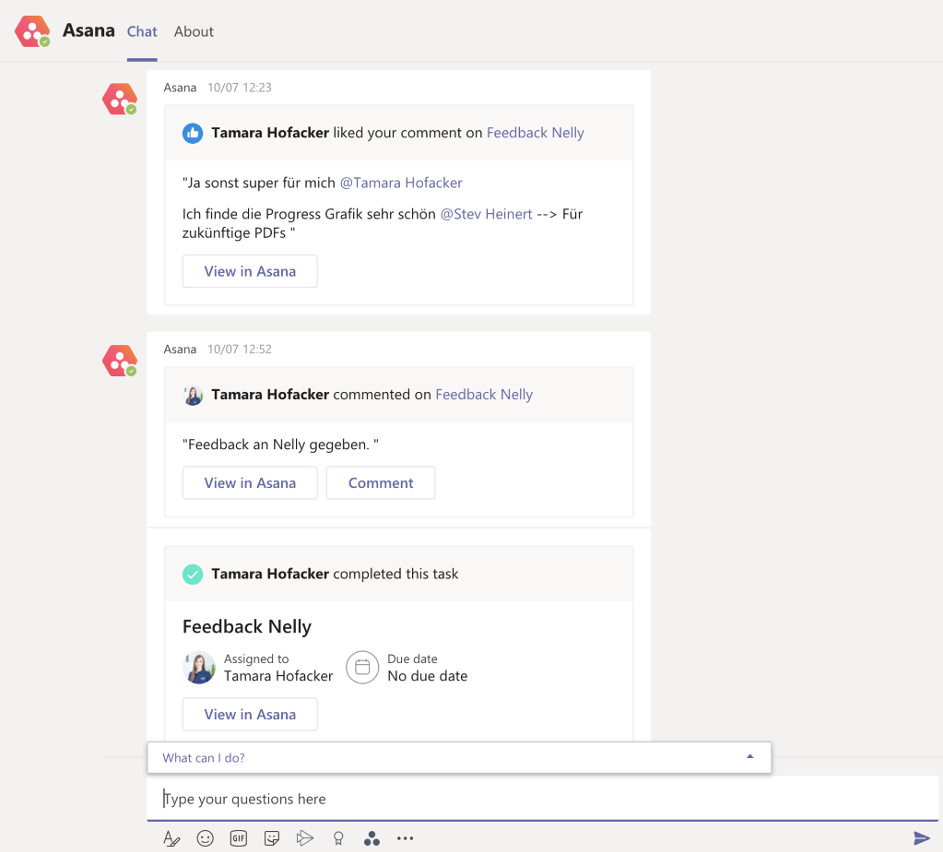 Project and Tasks from Asana in Teams